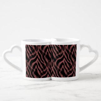 Snazzy Red Wine Zebra Stripes Print Coffee Mug Set