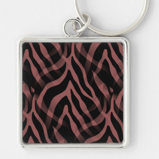 Snazzy Red Wine Zebra Stripes Print Silver-Colored Square Keychain