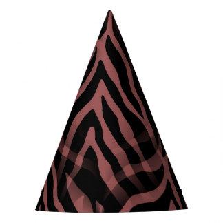 Snazzy Red Wine Zebra Stripes Print Party Hat