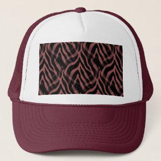 Snazzy Red Wine Zebra Stripes Print Trucker Hat