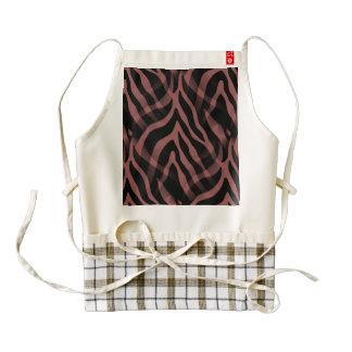 Snazzy Red Wine Zebra Stripes Print Zazzle HEART Apron