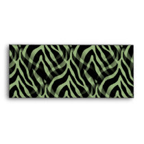 Snazzy Sage Green Zebra Stripes Print Envelope