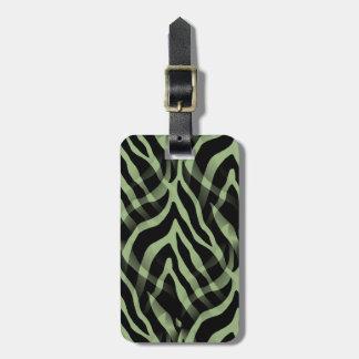 Snazzy Sage Green Zebra Stripes Print Luggage Tag