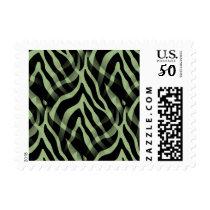 Snazzy Sage Green Zebra Stripes Print Postage