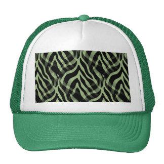Snazzy Sage Green Zebra Stripes Print Trucker Hat