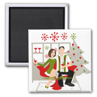 Snazzy Shindig Christmas 2 Inch Square Magnet