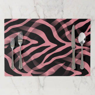 Snazzy Strawberry Pink Zebra Stripes Print Paper Placemat