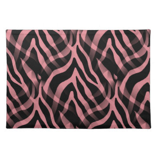 Snazzy Strawberry Pink Zebra Stripes Print Placemat