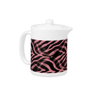 Snazzy Strawberry Pink Zebra Stripes Print Teapot