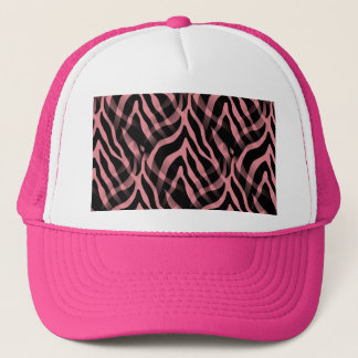 Snazzy Strawberry Pink Zebra Stripes Print Trucker Hat