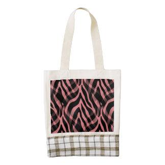 Snazzy Strawberry Pink Zebra Stripes Print Zazzle HEART Tote Bag