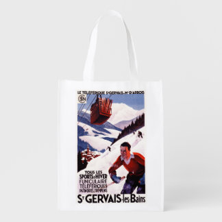 SNCF Railway Cable Car Promo Poster Grocery Bag