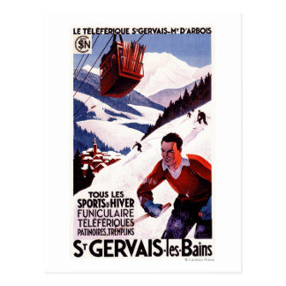 SNCF Railway Cable Car Promo Poster Postcard
