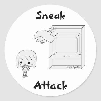 Sneak Attack (Black & White) Classic Round Sticker