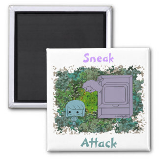 Sneak Attack (Blue and Gray Girl, Green Puzzle) 2 Inch Square Magnet