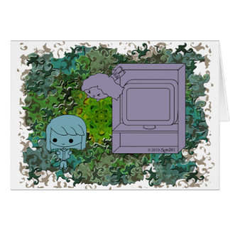 Sneak Attack (Blue and Gray Girl, Green Puzzle) Card