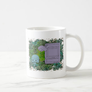 Sneak Attack (Blue and Gray Girl, Green Puzzle) Coffee Mug
