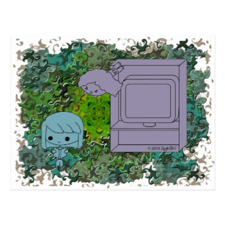 Sneak Attack (Blue and Gray Girl, Green Puzzle) Postcard