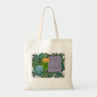 Sneak Attack (Blue and Orange Girl, Green Puzzle) Budget Tote Bag