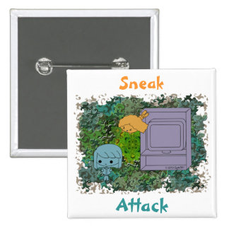 Sneak Attack (Blue and Orange Girl, Green Puzzle) Pinback Buttons