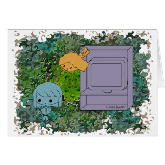 Sneak Attack (Blue and Orange Girl, Green Puzzle) Card