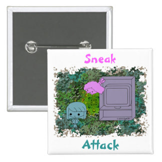 Sneak Attack (Blue and Pink Girl, Green Puzzle) Pin