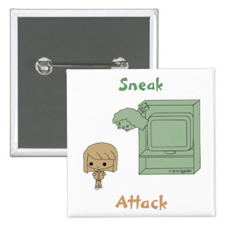 Sneak Attack (Brown and Green Girl) Pins