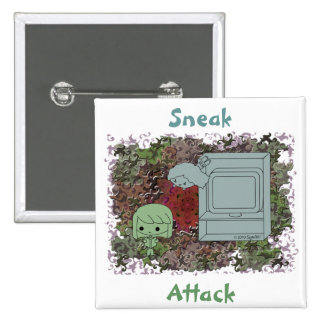 Sneak Attack (Green and Blue Girl, Red Puzzle) Pinback Button