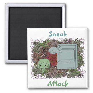 Sneak Attack (Green and Blue Girl, Red Puzzle) Magnet