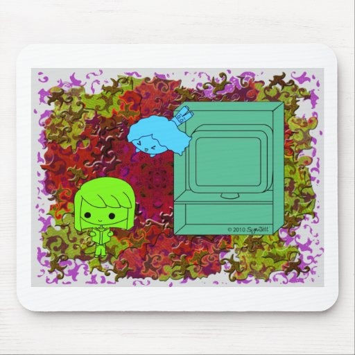 Sneak Attack (Green and Blue Girl, Red Puzzle) Mouse Pad
