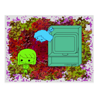 Sneak Attack (Green and Blue Girl, Red Puzzle) Postcard