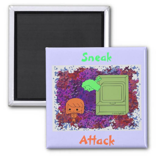 Sneak Attack (Orange and Green Girl Purple Puzzle) Magnet