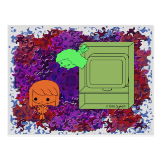 Sneak Attack (Orange and Green Girl Purple Puzzle) Postcard
