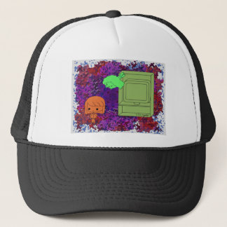 Sneak Attack (Orange and Green Girl Purple Puzzle) Trucker Hat