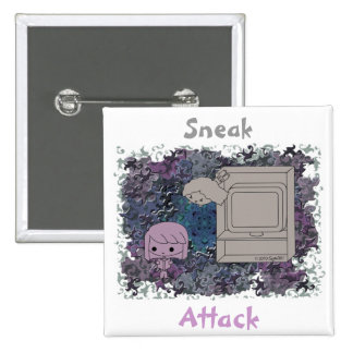 Sneak Attack (Purple and Light Girl, Blue Puzzle) Pinback Button