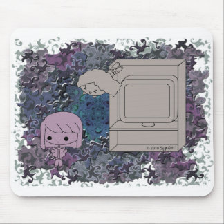 Sneak Attack (Purple and Light Girl, Blue Puzzle) Mouse Pad