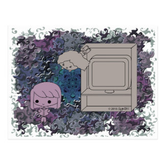 Sneak Attack (Purple and Light Girl, Blue Puzzle) Postcard