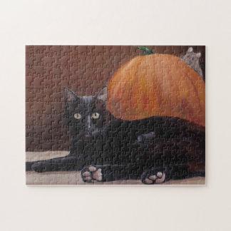 """Sneak Peek"" black cat Halloween art Puzzle"