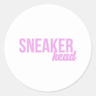 Sneaker Head Print Classic Round Sticker