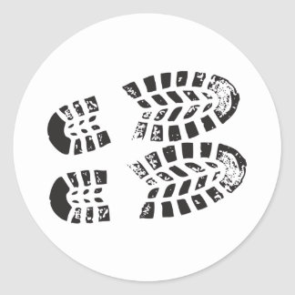 Sneakers Black & White Imprint Classic Round Sticker