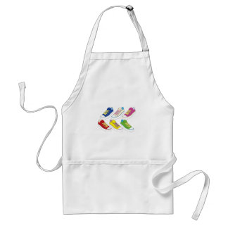 Sneakers drawing, colorful running shoes adult apron