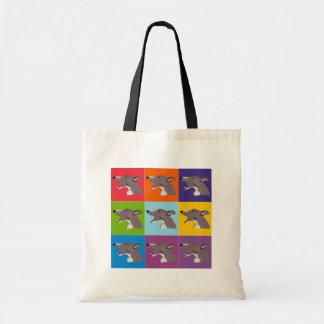 Sneaksy Whippet pop art montage shopping bag