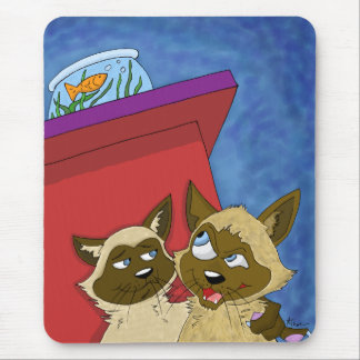 Sneaky Cartoon Siamese Cats Mousepad