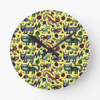SNEAKY CATS LARGE POSTER 2.jpg Round Clock