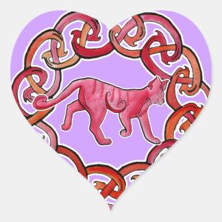 Sneaky Celtic Cat Heart Sticker