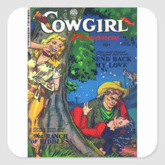 Sneaky Cowgirl Square Sticker
