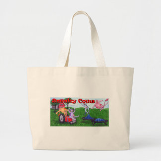 Sneaky Cows on Tractor and Trampolines Large Tote Bag