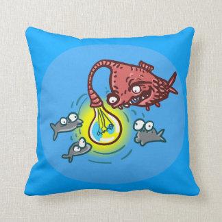 sneaky deep fish going to cheat cartoon throw pillow