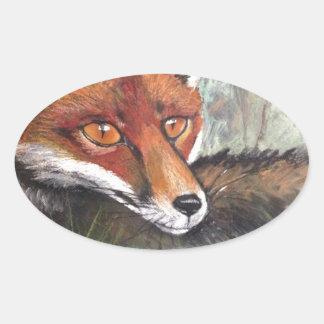 Sneaky Fox Oval Sticker
