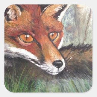 Sneaky Fox Square Sticker